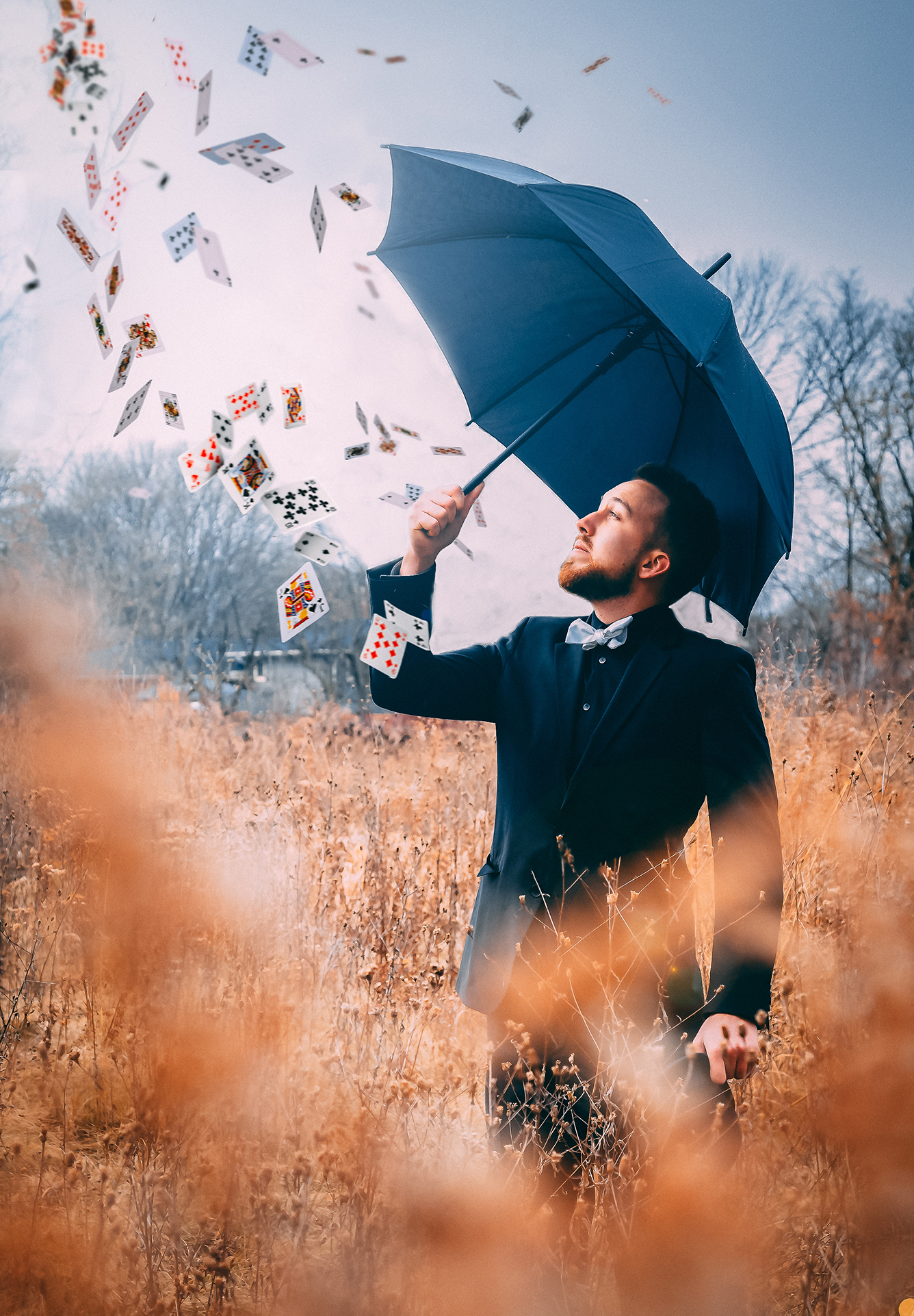 zack esau media photography umbrella playing cards alex kazam bow tie field digital art
